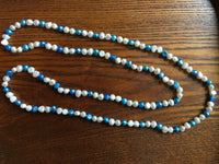 "47"" Long Turquoise and White Freshwater Pearl necklace Strand"