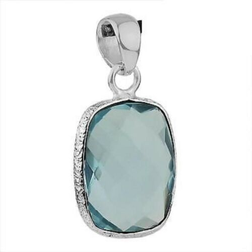 Natural Blue Topaz Gemstone Faceted Rectangle Sterling Silver Pendant
