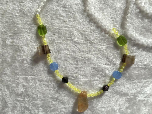 Natural Tumbled Gemstone Pendant on Acrylic Beaded Necklace