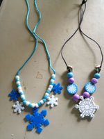 Cute Christmas Beaded Charm Necklaces Gingerbread, Candy Cane, or Snowflakes