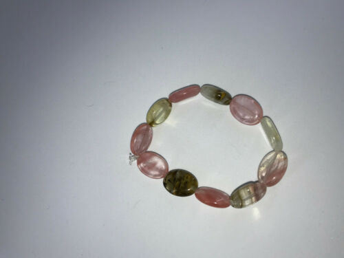 Natural Watermellon Tourmaline Gemstone Ovals Beaded Stretch Bracelet