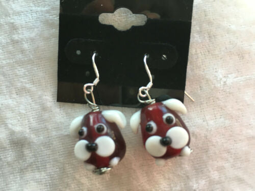 Cute Red and White lampworked Glass Dog Sterling silver Dangle Earrings
