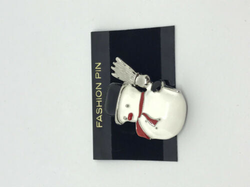 christmas snowman with broom enamelled pin brooch