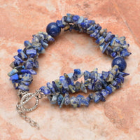 Natural Sodalite Gemstone Beaded Toggle Bracelet