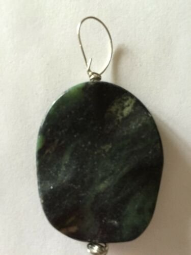 Natural Serpentine Gemstone Carved Wavy Oval Pendant