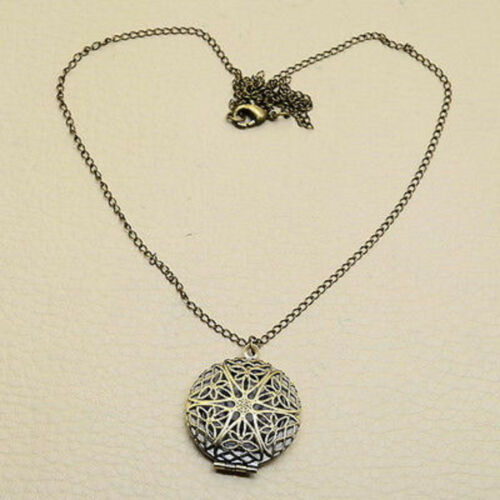 Lovely Round Brass Filligree Locket Pendant Necklace