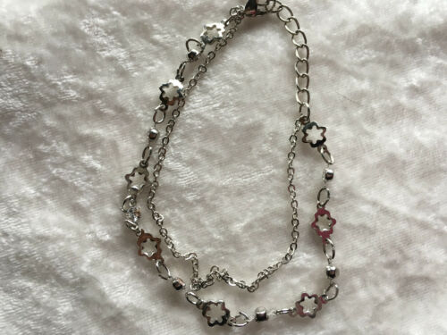 "Silver Tone Flower Double Strand 7""-9"" Adjustable Bracelet"