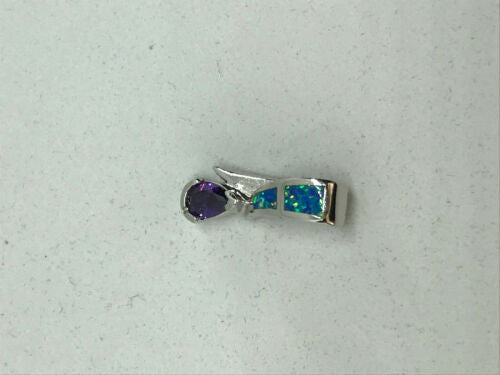 natural amethyst and opal gemstone dainty teardrop sterling silver pendant