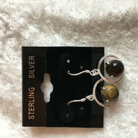 natural tiger eye gemstone sterling silver dangle earrings