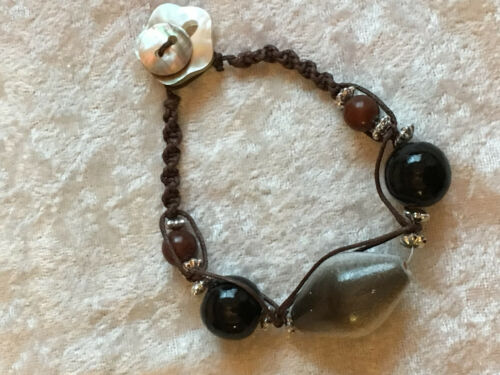 Natural Wood and Shell Beaded Macrame Bracelet