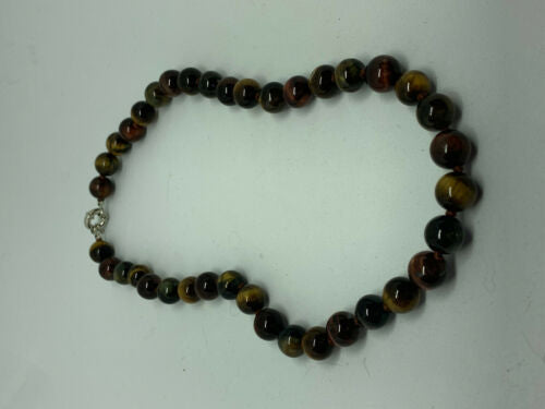 Natural Multicolor Tiger Eye Gemstone Rounds Beaded Necklace