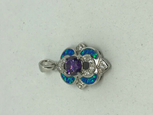 natural amethyst and opal gemstone sterling silver pendant