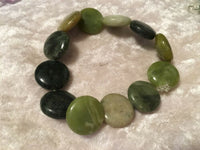 natural serpentine gemstone puffy disks beaded stretch bracelet