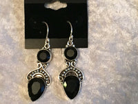 natural black onyx gemstone bold dangle sterling silver earrings
