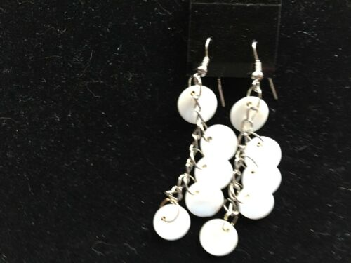 Mother of Pearl Shell Disks Dangle Earrings White Green Or Purple