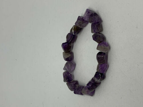 Natural Amethyst Gemstone Tumbled Cubes Beaded Stretch Bracelet