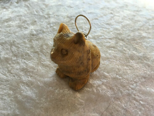 Natural Soapstone Carved Gemstone Kitty Cat Pendant