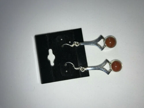 Natural Orange Coral Gemstone Sterling Silver Dangle Earrings