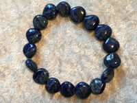 natural lapis gemstone heart beaded stretch bracelet
