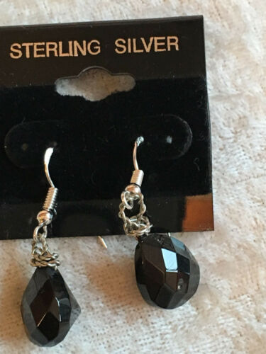 Natural Black Spinel Gemstone Teardrop .925 Sterling Silver Dangle Earrings
