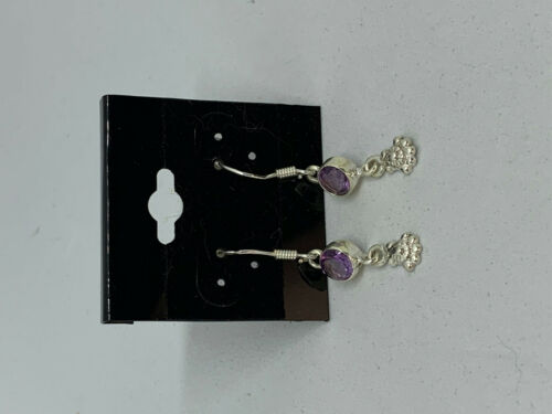 Natural Amethyst Gemstone Round and Sterling Silver Shell Dangle Earrings