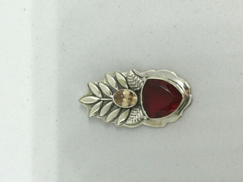 Natural Garnet and Padparadscha Sapphire Gemstone Sterling Silver Leaf Pendant