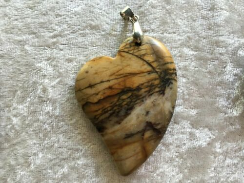 Natural Jasper Gemstone Large Carved heart Pendant