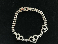 silvertone sparkly heart bracelet with clear cz stones