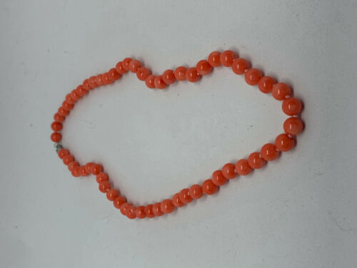 Natural Pink Coral Gemstone Round Beaded Necklace