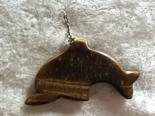 Natural Tiger Eye Gemstone Carved Dolphin Pendant
