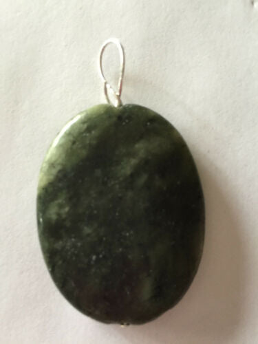 Natural Serpentine Gemstone Carved Puffy Oval Pendant