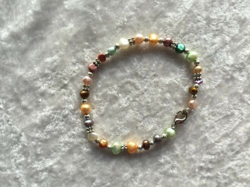 Dainty Multicolor Pearl and Silver 7 Inch Beaded Bracelet