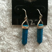 Natural Turquoise Gemstone Point Sterling Silver Dangle Earrings