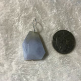 natural Blue Lace Agate Gemstone Faceted Pendant