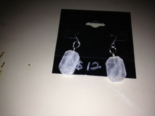 Natural Rose Quartz Gemstone Rectangles Beaded Sterling Silver Dangle Earrings