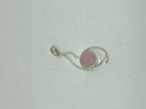 natural rose quartz gemstone sterling silver faceted round pendant