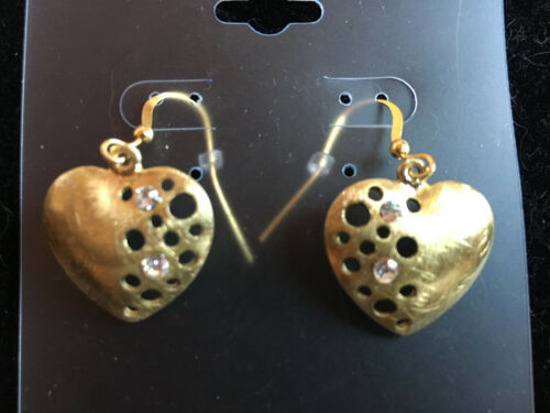 gold tone heart dangle earrings with clear cz stones