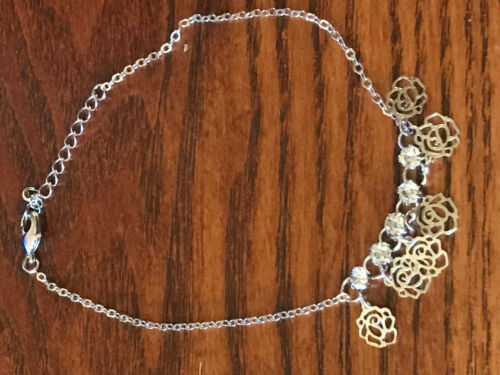 Silvertone Roses Charm Adjustable Anklet with CZ Stones