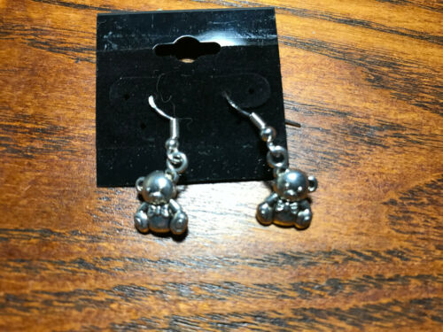 dainty silvertone teddy bear dangle charm earrings with sterling silver hooks