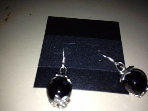 Black Onyx Gemstone Beaded Sterling Silver Dangle Earrings