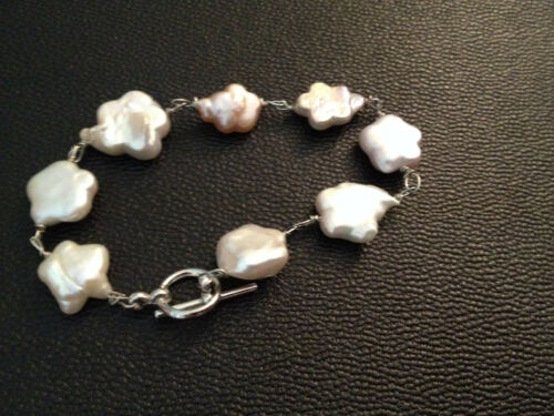 natural white pearl carved star beaded link bracelet