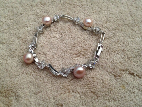 Elegant Pearl and CZ Link Bracelet Mauve or Peach