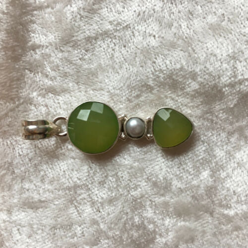 natural pearl and prehnite gemstone sterling silver pendant