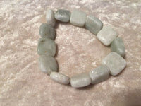 Natural Amazonite Squares Beaded Gemstone Stretch Bracelet
