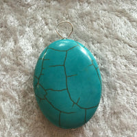 Natural Turquoise Gemstone Carved Oval Pendant
