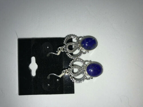 natural lapis gemstone oval ornate sterling silver earrings