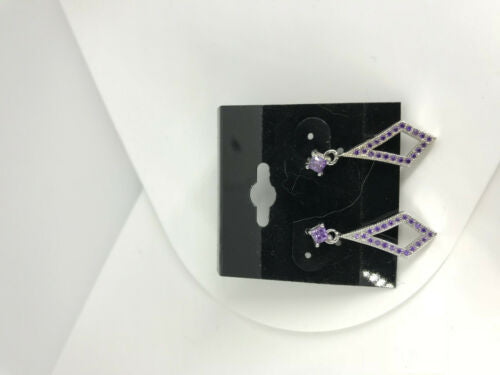 natural amethyst gemstone round and diamond sterling silver dangle Earrings