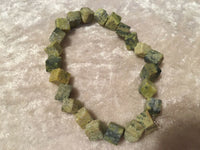 natural yellow turquoise gemstone cubes beaded stretch bracelet