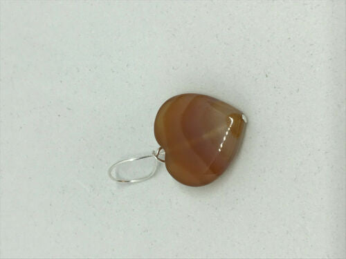 natural carnelian gemstone carved heart pendant
