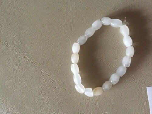 natural gray quartz gemstone barrels beaded stretch bracelet